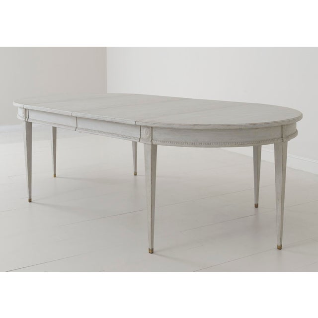 Swedish Gustavian Style Two-Leaf Extension Dining Table With Original Brass Feet For Sale - Image 9 of 11