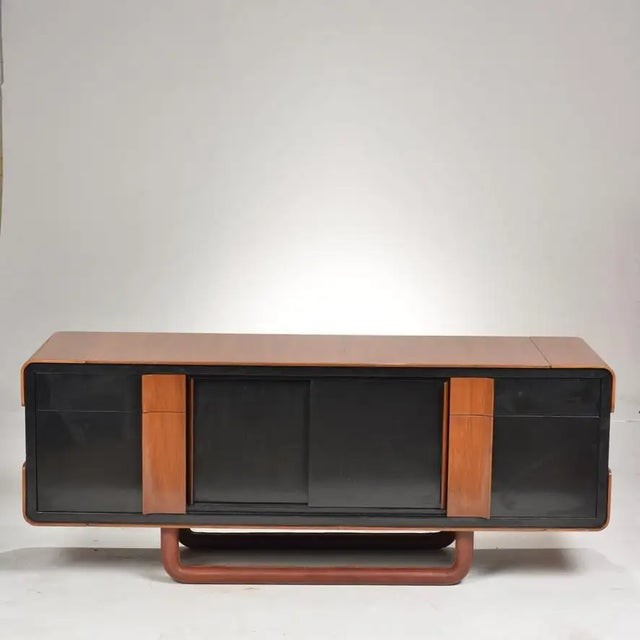 Modern 1980s Italian Modern Credenza With Leather Base For Sale - Image 3 of 9