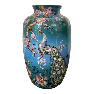 20th Colorful German Baluster Peacock Vase by Ulmer Keramik For Sale