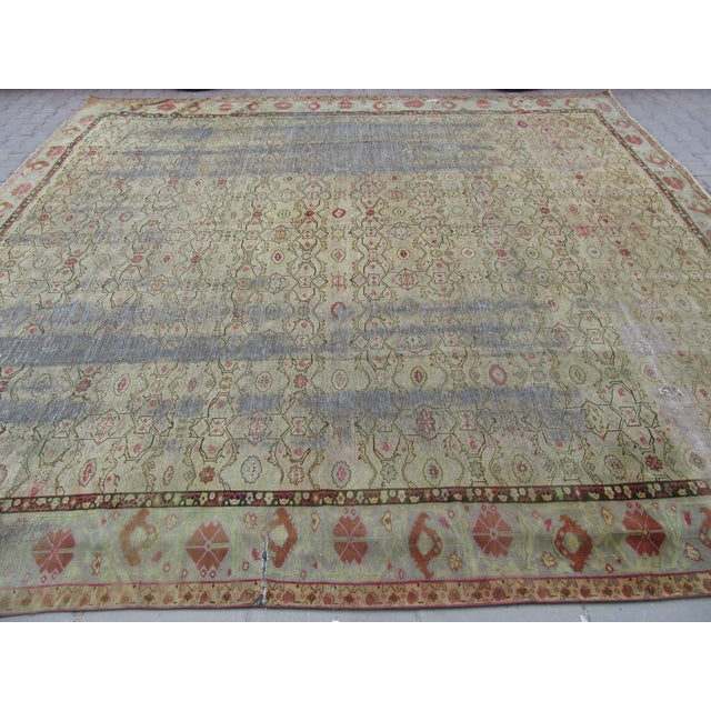 Mid-Century Modern Distressed Antique Oversized Square Rug - 12′10″ × 13′9″ For Sale - Image 3 of 6
