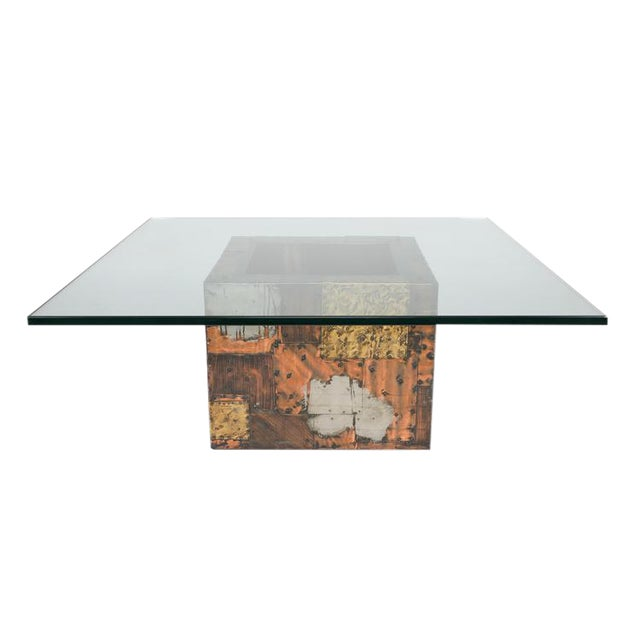 PAUL EVANS PEWTER, BRASS AND COPPER PATCHWORK COCKTAIL TABLE, CIRCA 1970S - Image 1 of 7