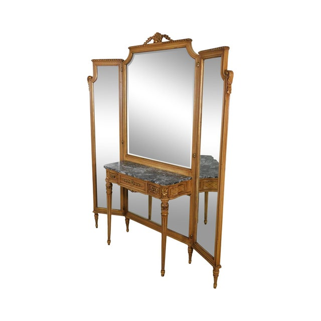 1920's Vintage French Louis XVI Style Tri-Fold Mirror with Dressing Table, Vanity For Sale - Image 13 of 13