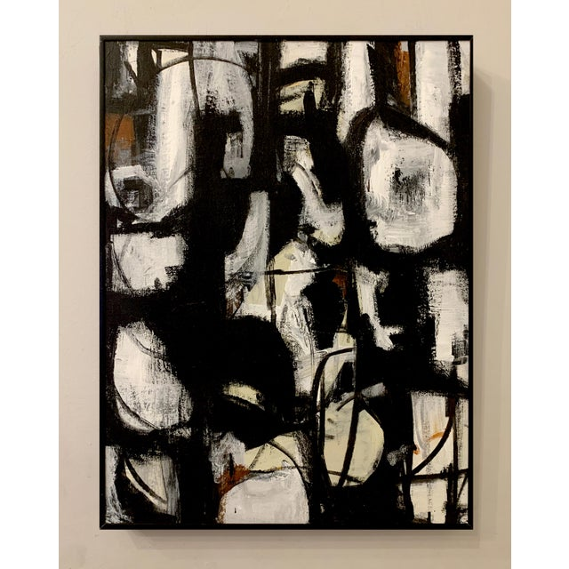 Mid-Century Modern Original Abstract Mid-Century Inspired Framed Painting For Sale - Image 3 of 4