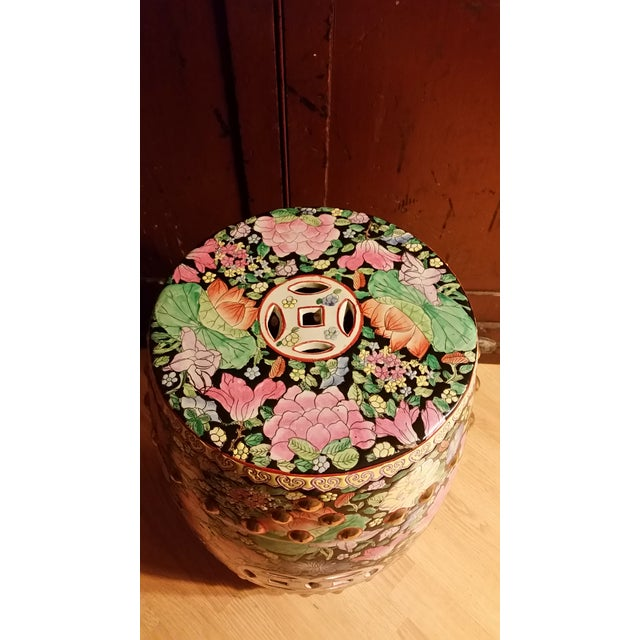 Vintage Chinoiserie Gilded Floral Garden Stool - Image 2 of 9