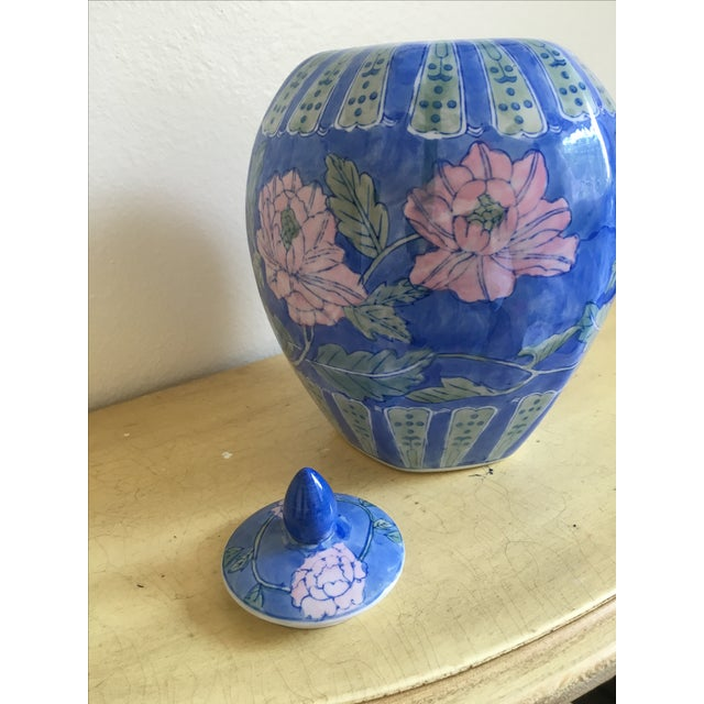 Vintage Large Chinoiserie Blue Ginger Jar & Lid - Image 9 of 10