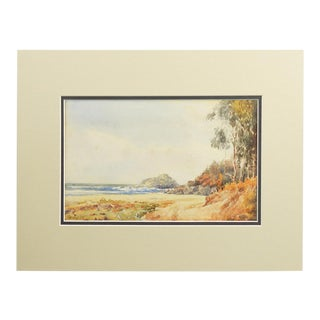 Coastal Seascape Watercolor Painting For Sale