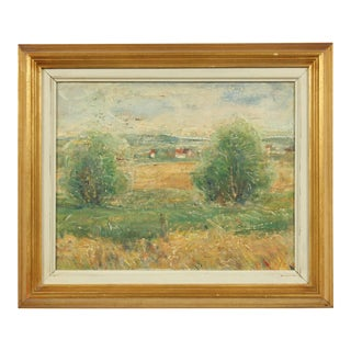 Impressionist Painting of a Farm Field by William Georg Erle For Sale