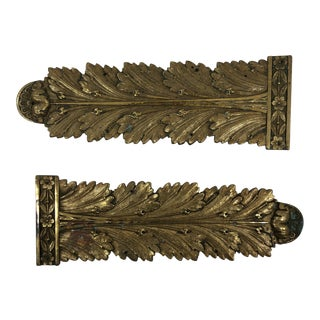 French Antique 19th Century Gilded Bronze Furniture Accessory - a Pair For Sale