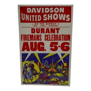 "Circa 1960 Vintage ""Davidson United Shows"" Durant Fireman's Celebration Poster For Sale"