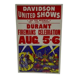 "Circa 1960 Vintage ""Davidson United Shows"" Durant Fireman's Celebration Poster"