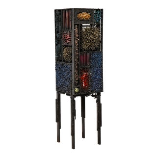 "James Bearden ""Segment Cabinet"" in Polychromed and Bronzed Steel For Sale"