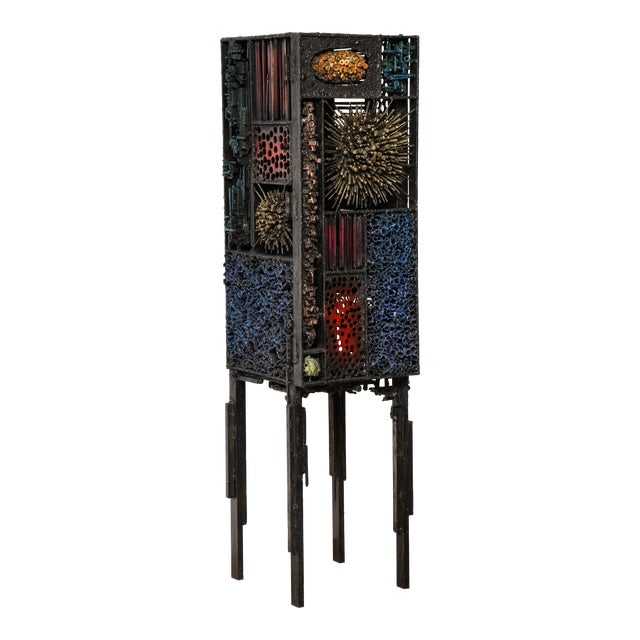 """James Bearden """"Segment Cabinet"""" in Polychromed and Bronzed Steel For Sale"""