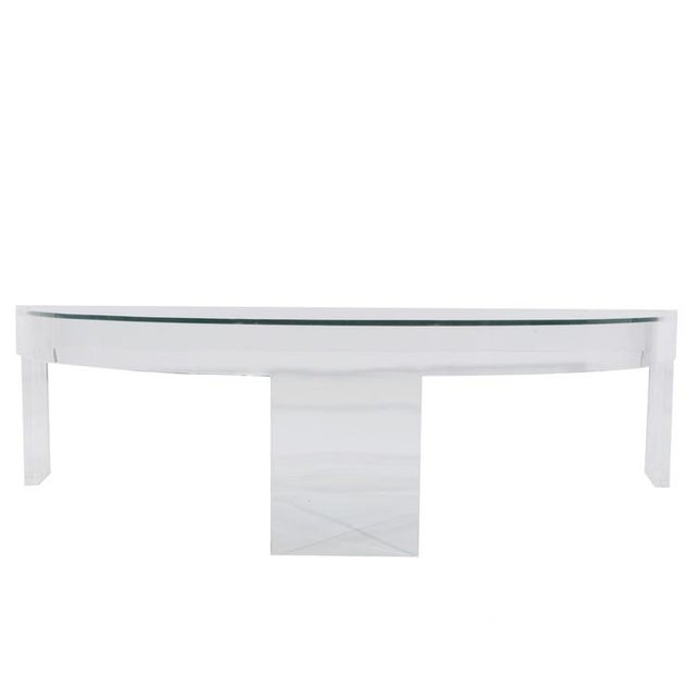 DEMILUNE LUCITE COCKTAIL TABLE For Sale In New York - Image 6 of 7