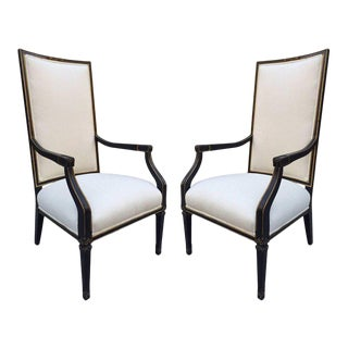 Pair French Black and Gold Trim Side Chairs