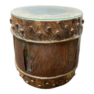 20th Century Asian Drum Side Table For Sale
