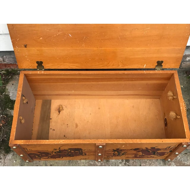 Brown 1950s Vintage Cowboys and Indians Wooden Toy Chest For Sale - Image 8 of 13