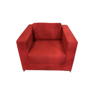 Modern Custom Red Wool Cube Armchair For Sale