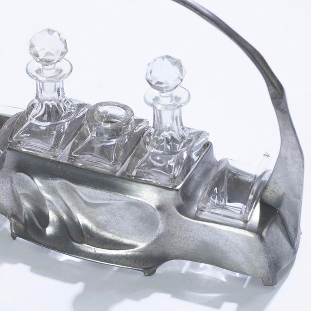 Victorian 1900s Art Nouveau Hugo Leven for Kayserzinn Pewter and Crystal Cruet Set For Sale - Image 3 of 5