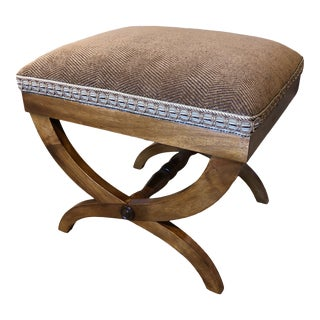 Italian Upholstered Walnut Bench For Sale