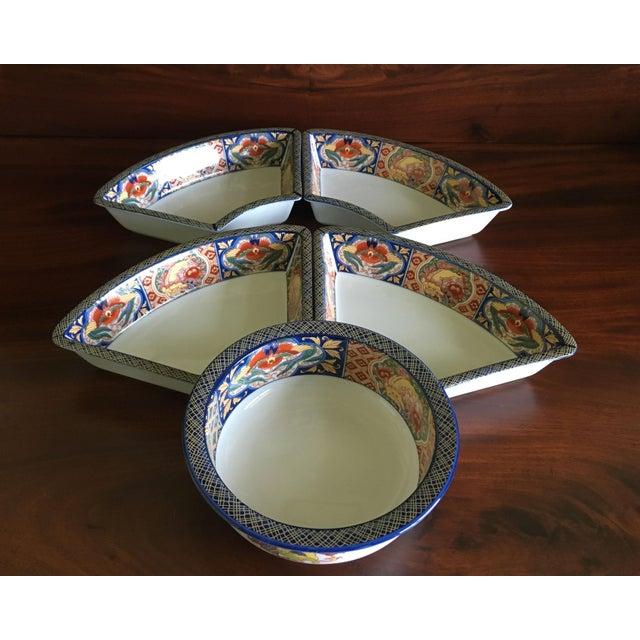 Asian Japanese Ceramic Appetizer Serving Set of 5 For Sale - Image 3 of 13