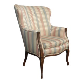 Vintage French Country Striped Accent Rounded Wingback Arm Chair For Sale