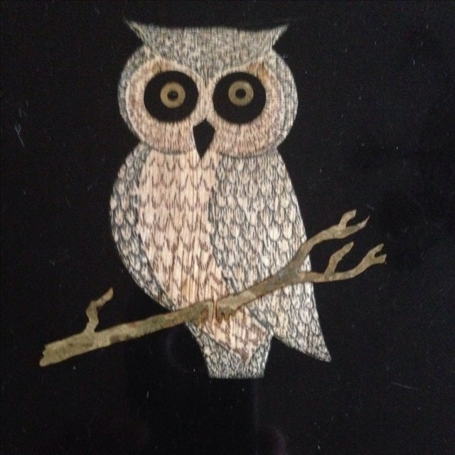 Vintage Couroc of Monterey Owl Tray For Sale - Image 4 of 11