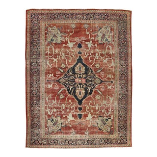 Distressed Antique Persian Sultanabad Area Rug with Modern Design