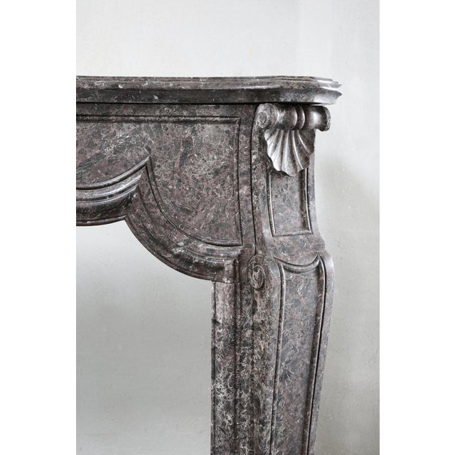 Tan Antique Marble Fireplace - 19th Century - Louis XV For Sale - Image 8 of 9
