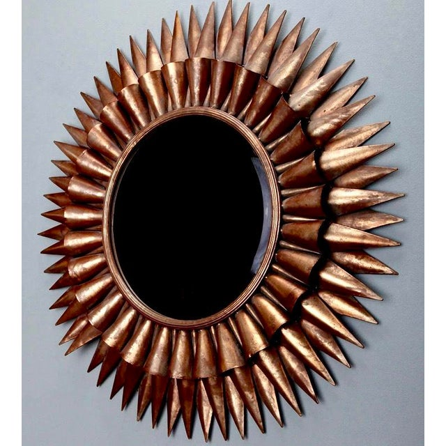 Large Mid-Century Spanish Gilt Sunburst Mirror - Image 4 of 5
