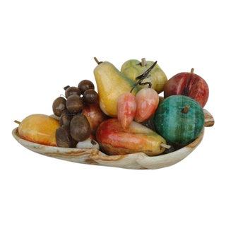 Vintage Marble Fruit and Leaf Form Bowl For Sale
