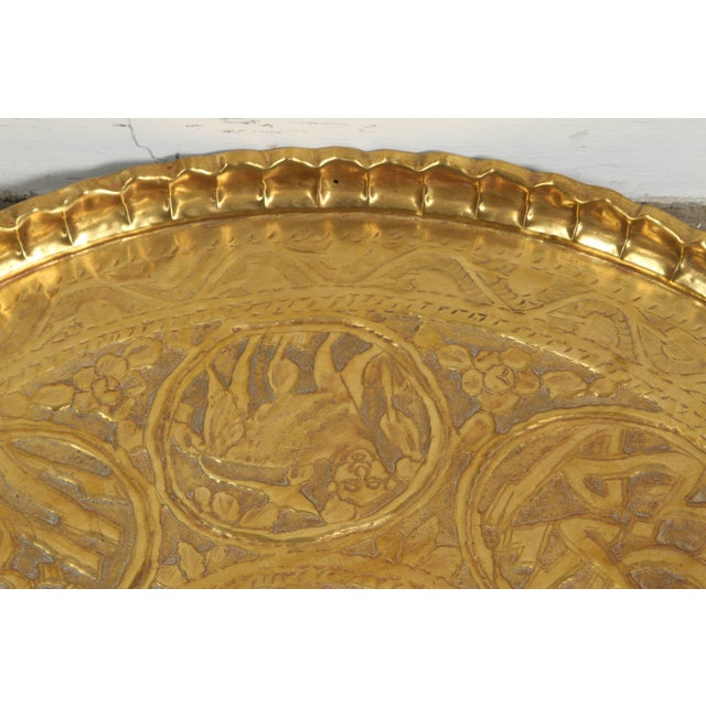 Early 20th Century Large Hand-Crafted Decorative Persian Hammered Brass Tray For Sale - Image 5 of 10