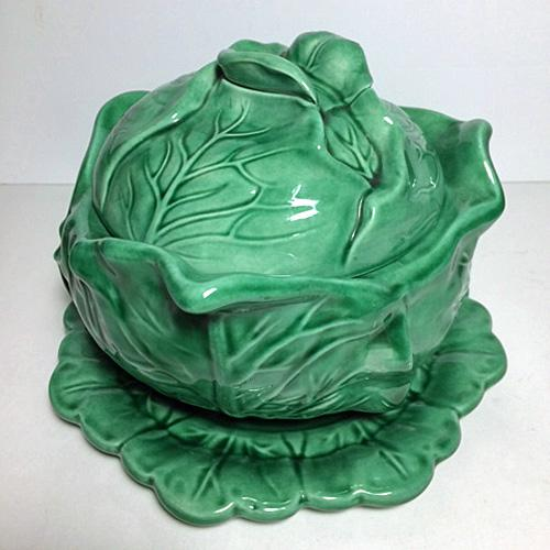 Vintage 1974 Cabbage Tureen with under plate. Hand crafted and painted in a light green with deep green accents. The...