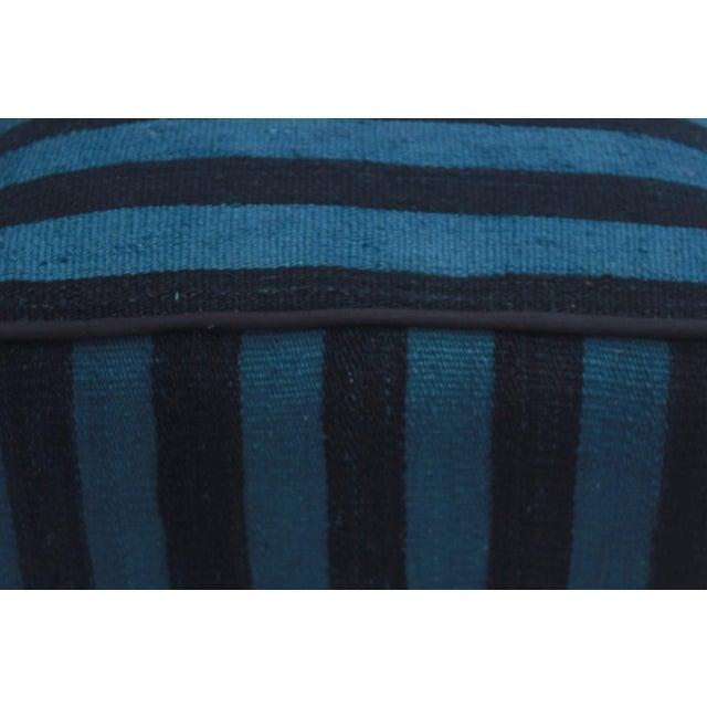 Boho Chic Arshs Donnetta Black/Blue Kilim Upholstered Handmade Ottoman For Sale - Image 4 of 8