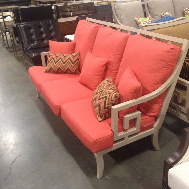 Lane Venture Outdoor Sofa, Peach Color For Sale - Image 4 of 10