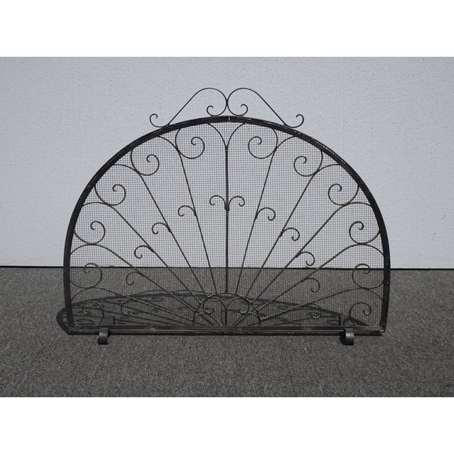 Spanish Vintage Spanish Style Black Metal Fireplace Screen W Scrolls For Sale - Image 3 of 13