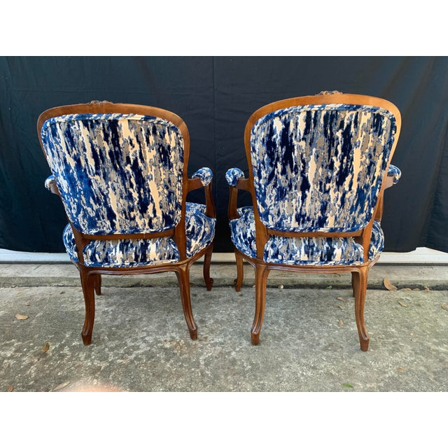 Wood Antique French Carved Bergere Chairs-Pair For Sale - Image 7 of 13