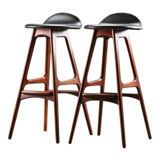 Rosewood & Leather Bar Stool by Erik Buch For Sale