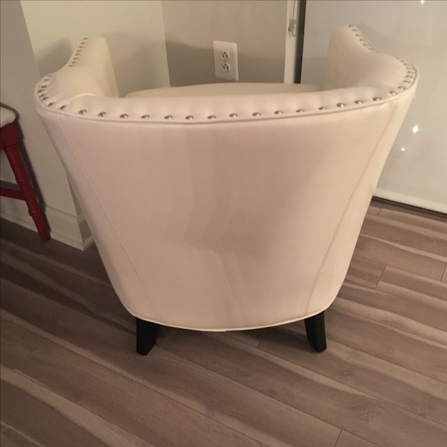 Ivory Leather Tub Chair - Image 5 of 5