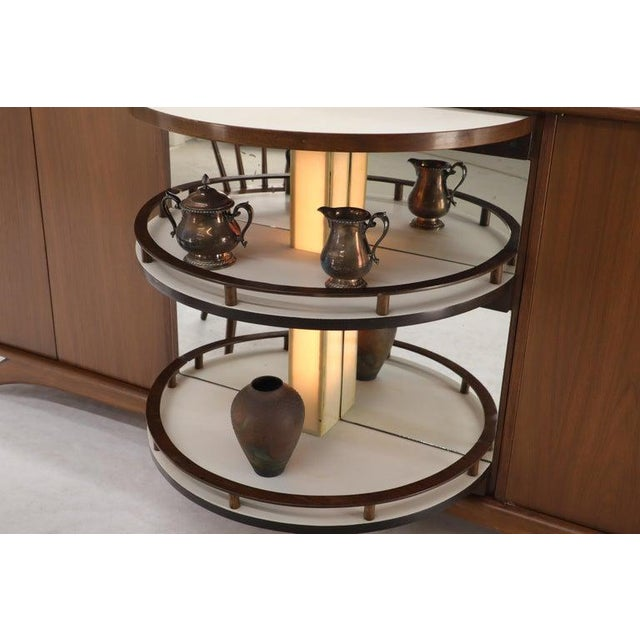 Swivel Centre Bar Walnut Mid-Century Modern Credenza Sideboard Sculptural Legs For Sale - Image 9 of 13