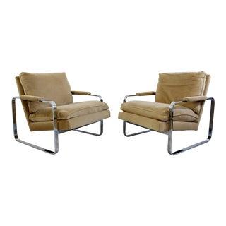 1950s Mid Century Modern Milo Baughman Cantilever Arm Chairs - a Pair