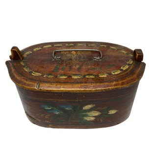 19th Century Swedish Floral Painted Oval Box For Sale