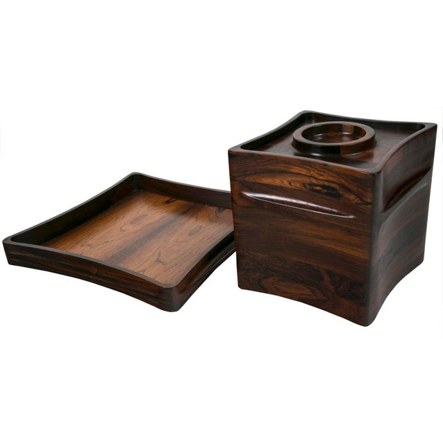 Mid-Century Modern Rare Rosewood Ice Bucket and Tray by Jenns Quistgaard, Scandinavian Modern Circa 1970 For Sale - Image 3 of 8