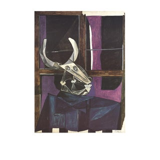 "Pablo Picasso Crane De Boeuf 35.5"" X 27.5"" Poster 1989 Cubism Purple, Brown Skull, Bull, Horns For Sale"
