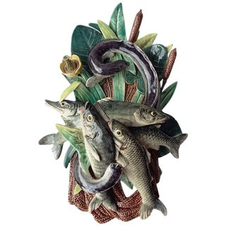 1880 Vintage Majolica Palissy Fishs Wall Pocket Fives Lille For Sale