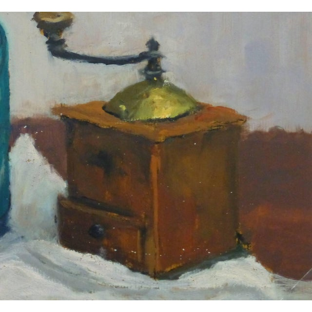 Traditional Raymond Bailly, French Oil Still Life - Seltzer & Coffee For Sale - Image 3 of 5