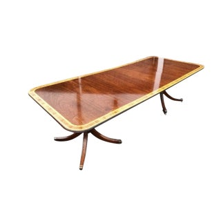 Georgian Style Double Pedestal Banded Mahogany Dining Table With Two Leaves For Sale