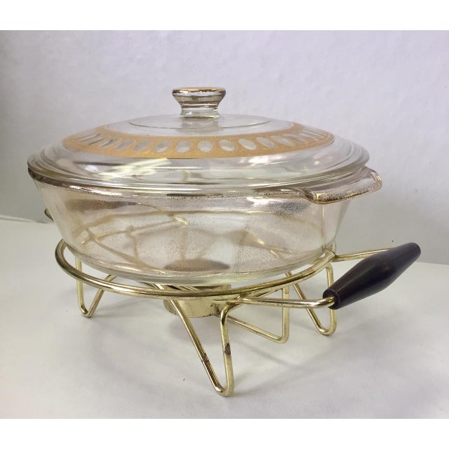 1960s Anchor Hocking Casserole Dish With Candle Warmer & Walnut Handle Caddy For Sale - Image 10 of 12