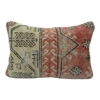 Turkish Antique Beige and Rust Kilim Rug Decorative Pillow Cover - 24ʺW × 16ʺH For Sale