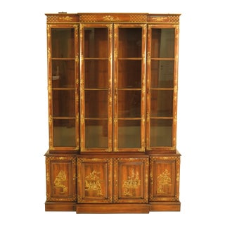 1980s Chinoiserie Drexel Decorated 4-Door China Cabinet Breakfront For Sale