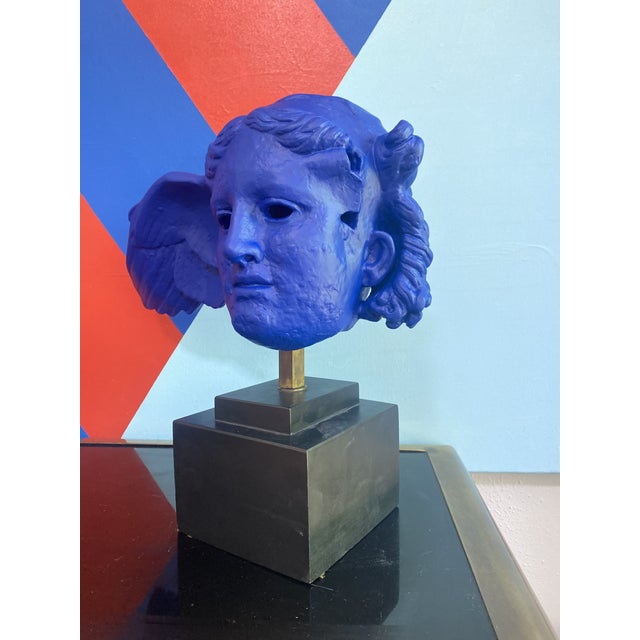 Mid 20th Century Vintage Neoclassical Greek Plaster Sculpture of Hypnos in Klein Blue For Sale - Image 5 of 6